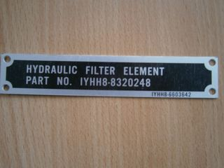 Hinweisschild HYDRAULIC FILTER ELEMENT